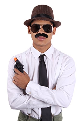 Enimay Gangster Detective Halloween Costume Includes Hat, Tie, Glasses Plus More - Gangster Costume Mustache