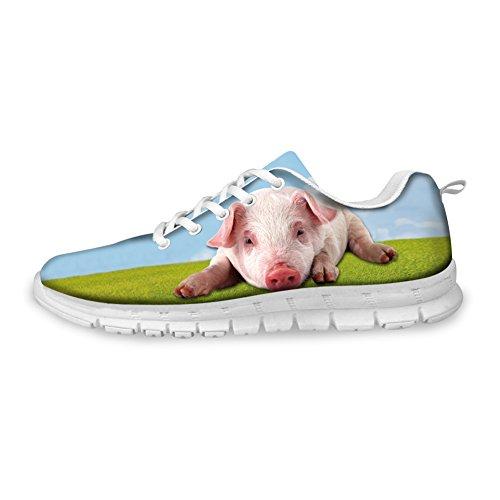 Abrazadera Idea 3d Animals Pattern Hombres Moda Ligera Sneakers Pig