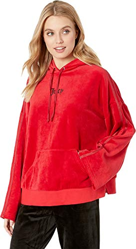(Juicy Couture Women's Velour Side Slit Hoodie Pullover Astor Medium)
