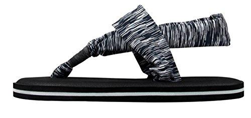 Mante Con de de Suela Clip de Descubieto Talon Ligero Peso de Gris Sandalia de Cinta Mujer Pie Santiro Dedo Yoga 5XtwqaxAn