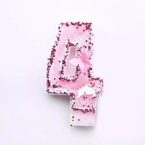 Originals Group Birthday Party Sparkling Glitter Number Cake Candle (4) (Original Cake Candle)