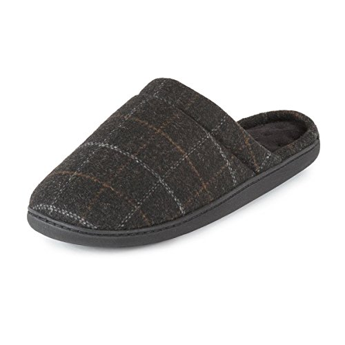 Isotoner para hombre woven Check Pillowstep Mule Slippers Comprobar