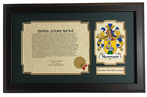 (Neumann - Coat of Arms and Last Name History, 14x22 Inches Matted and Framed)