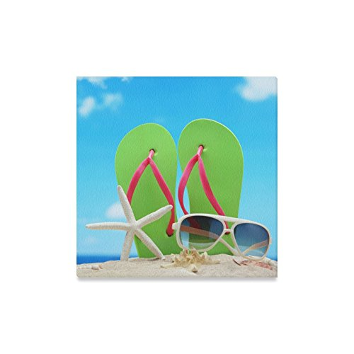 Canvas Print Valentine's Day Gifts Sunglasses Flip Flops Starfish On Beach Design Modern Wall Art for Home Room Office Decoration (16x16 - Nc Charlotte Sunglasses