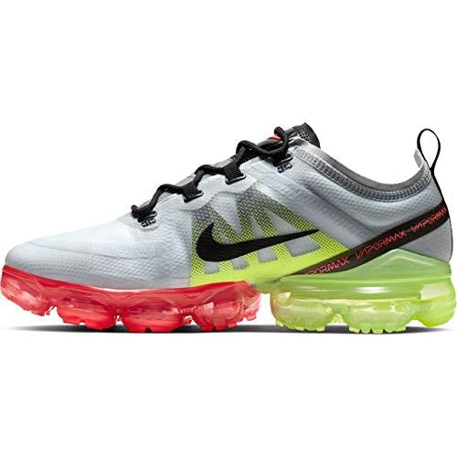 (Nike Men's Air Vapormax 2019 Pure Platinum/Black/Volt Nylon Running Shoes 12 M US )