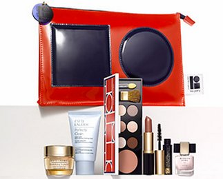 NEW Estee Lauder 2015 7 Pcs Skincare Makeup Gift Set 125 Value with Cosmetic Bag