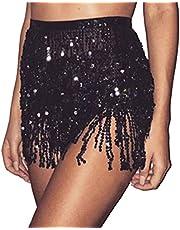 HWILEGEND Women Sparkly Silver Belly Dance Hip Skirt Tassel Scarf Sequin Wrap Rave Outfits Fringe Skirt,Black
