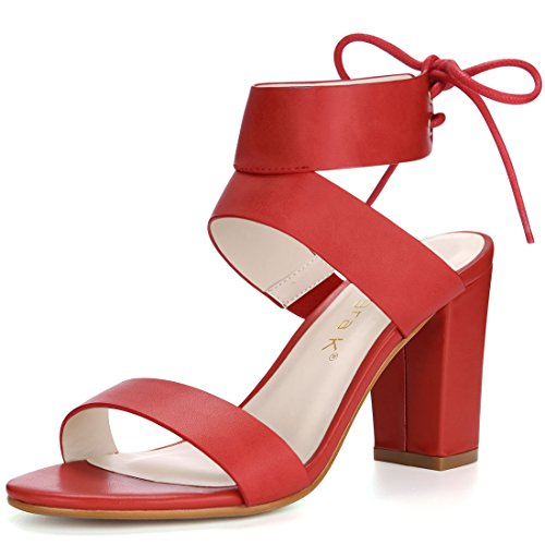 Lace Womens Up K Allegra Sandals Heel Block High Red qE15WOW
