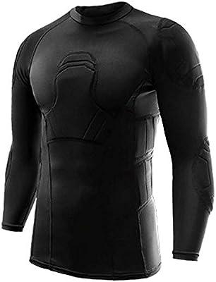 Hombres camiseta de manga acolchada Compresión camisa Largo acolchado protector de Fútbol costilla del pecho protector de espalda, para el baloncesto Paintball Parkour Extremo Ejercicio (XL,Coat): Amazon.es: Deportes y aire libre
