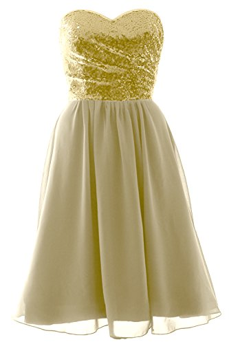 Formal MACloth Champagner Elegant Chiffon Gown Dress Sequin Short Bridesmaid Strapless w0xZwpqa