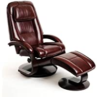 Merlot Top Grain Leather Swivel, Recliner with Ottoman