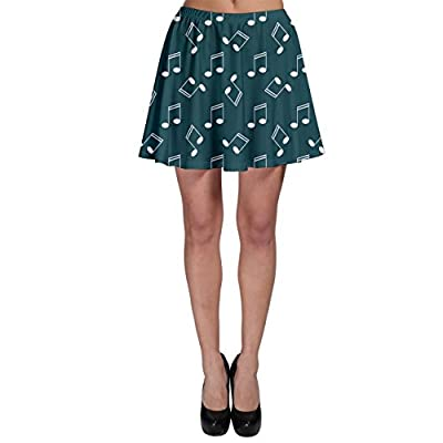 CowCow Womens Green Music Elements Notes Gray Pattern Skater Skirt