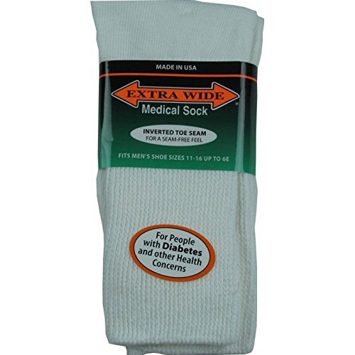 16 Socks (Extra-Wide Medical (Diabetic) Socks for Men (11-16 (up to 6E wide), White))
