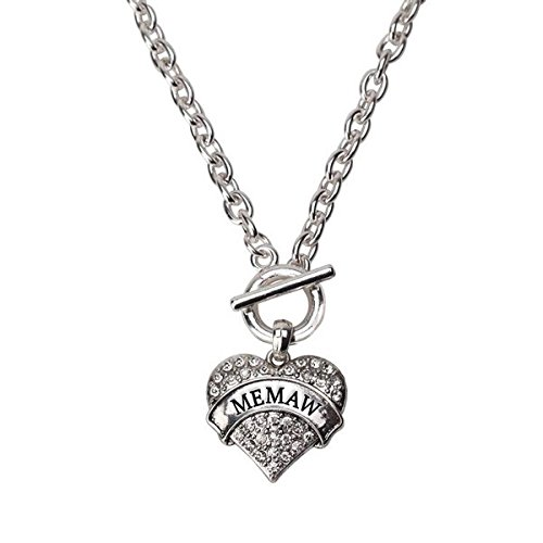 Necklace Heart Inspired Silver (Inspired Silver Memaw Pave Heart Toggle Necklace Clear Crystal Rhinestones)
