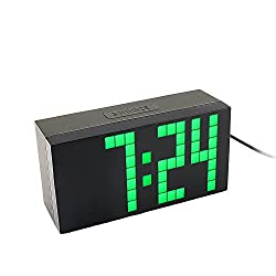 Yosoo Large Big 4 6 Digit Jumbo LED Digital Alarm Calendar Snooze Wall Desk Clock (green, 4-digit version)