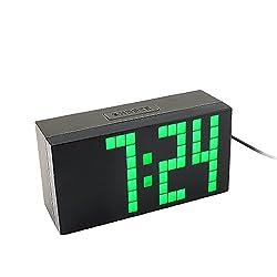 Yosoo Large Big 4 6 Digit Jumbo LED Digital Alarm Calendar Snooze Wall Desk Clock (Green, 4-Digit Version)