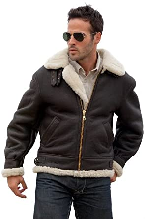 Overland Classic Sheepskin B-3 Bomber Jacket at Amazon Men's ...