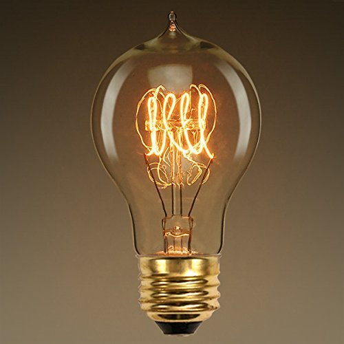40W A19 Antique Light Bulb Victorian Style Quad Loop Filament Amber Tinted by PLT