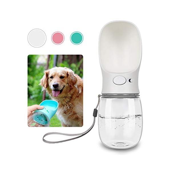 QQPETS Dog Water Bottle for Walking, Dispenser Pet Portable Dogs Cats 12OZ Travel Drink Bottle Bowls BPA Freee,Leak Proof,Food Grade 1