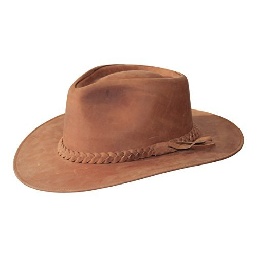 B&S Premium Leather Fedora - Wide Brim Hat - 100% Leather - Water Resistant - Tan (Size 62)