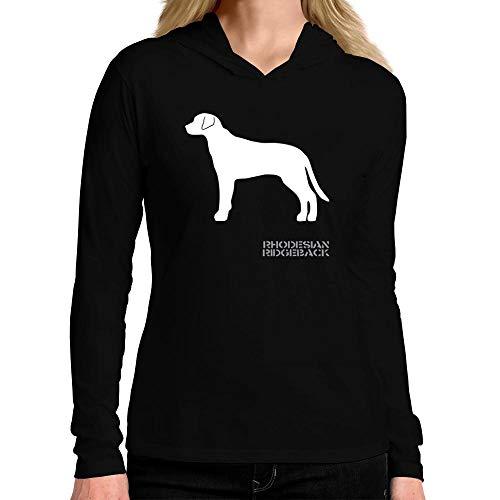 Idakoos Rhodesian Ridgeback Shape and Name Women Hooded Long Sleeve T-Shirt L Black