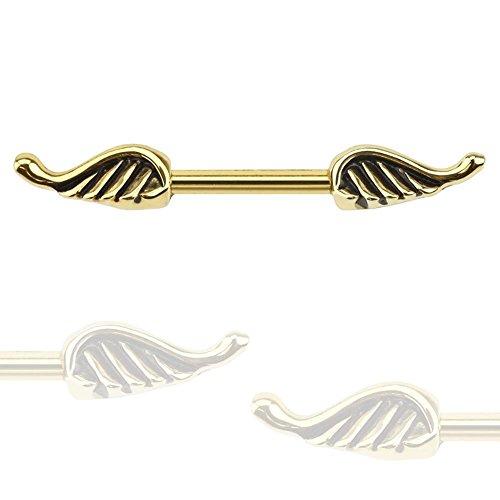 Paula & FRITZ Piercing Téton en acier inoxydable acier chirurgical 316L ailes d'ange en or longueur 12mm kr12779