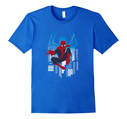 Men's Marvel Spider-Man Animated Skyscraper Hop Graphic T-Shirt 2XL Royal Blue (T Shirt Spiderman)