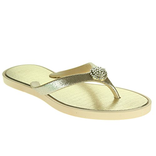 Mujer Señoras Cristal detallado Toe Post Cada día Ligero Casual Confort Ponerse Plano Sandalias Zapatos Tamaño Oro