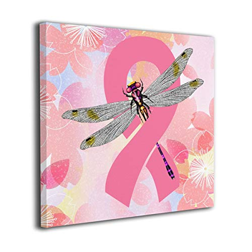 Breast Cancer Ribbon Dragonfly Modern Picture Canvas Wall Art Print Paintings Artwork For Living Room Wall Decor And Home Decor Framed Ready To Hang - Wall Dragonfly Ribbon