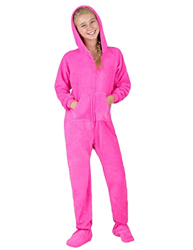 Footed Pajamas - Perfect Pink Kids Hoodie Chenille - Extra Large