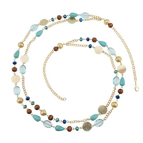 Bocar 14K Gold Plated Link Chain 2 Layer Crystal Wood Acrylic Colorful Women Party Long Necklace Gift (10084-blue)