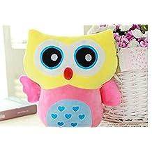 XY Stuffed Toy Plush Doll Lovely Owl Shaped Perfect Decorative Pillow(Yellow)