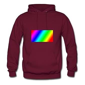 Rainbow Print Women Styling Hoodies - X-large - Electric Burgundy