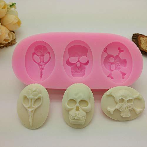 Moldes de silicona para repostería, diseño de calavera de Halloween, color rosa: Amazon.es: Hogar