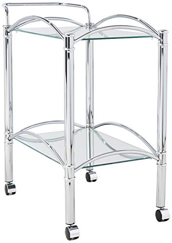 Serving Cart with Mirrored Bottom Shelf and Casters Chrome and Clear (Chrome Bar Cart)