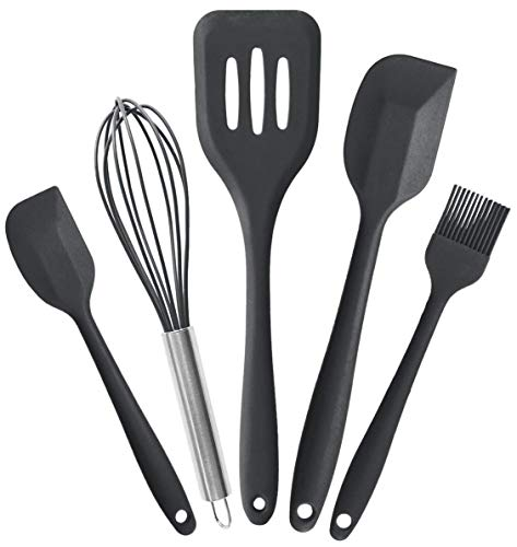 StarPack Premium Range Silicone Kitchen Utensils Set (5 Piece) in EU LFGB Grade with Hygienic Solid Coating + Bonus 101 Cooking Tips (Gray - Small Range Cooking
