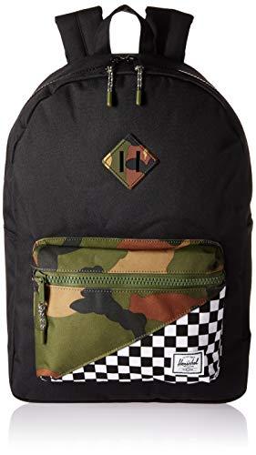 (Herschel Kids' Heritage Youth XL Children's Backpack, Black/Checker/Woodland Camo, One Size)
