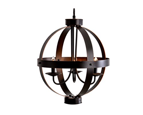"Catalina Lighting 19866-000 Industrial Modern Geometric 3 Metal Orb Open Cage Chandelier Ceiling Light, 16"", Bronze - Features a metal shade with Bronze finish Measures 84-inches (H) by 16-inches (W) by 16-inches (D) and weighs 8.31-Pounds Uses a Type B (3) 40-watt candelabra bulbs (not included) - kitchen-dining-room-decor, kitchen-dining-room, chandeliers-lighting - 41kGUYZdFrL -"