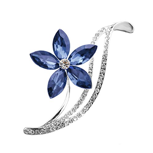 Dolland Five Leaf Flower Crystal Brooch Badge Pin Needle Women