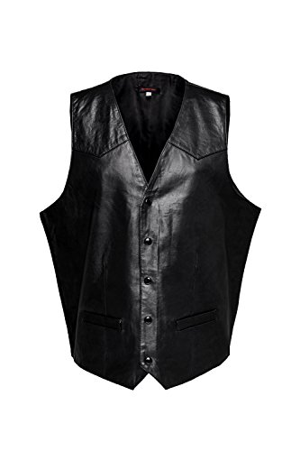 n Leather Vest Black Slim Fit Waistcoat Sleeveless Jacket M (Mens Lambskin Leather Vest)