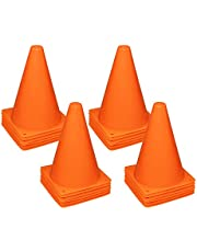 """REEHUT 7.5"""" Plastic Traffic Cones - 12 Pack Thick Soccer Training Cones for Outdoor Activity & Festive Events (Set of 12 or 24)- 4 Colors"""