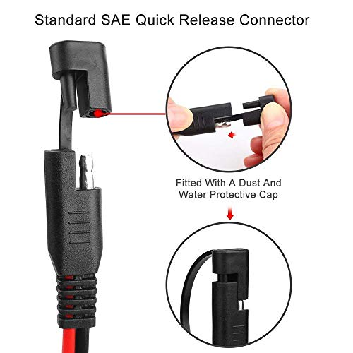 KUNCAN 12FT Sae to Sae 2 Pin Extension Cable DC Power 16awg Heavy Duty Battery Quick Disconnect//Connect Wire Harness with Sae Connectors with Dust Cap