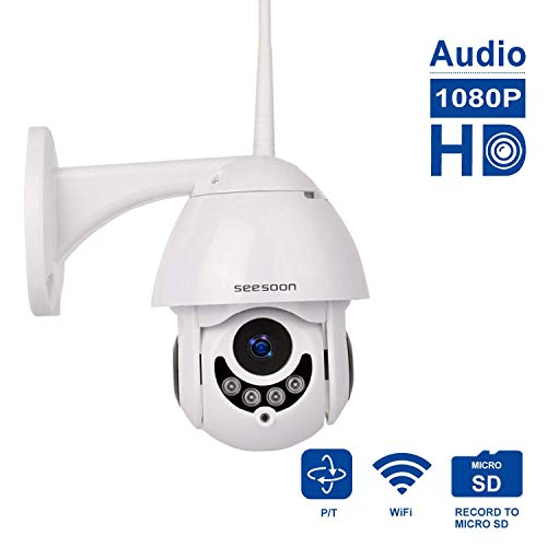 PTZ WiFi IP Camera 1080P HD H.265/H.264 Wireless Waterproof CCTV Security Dome Camera with 4mm F1.2 CS Lens 355° Pan/ 90° Tilt, IR-Cut Night Vision, Motion Detection, Two Way Audio,Micro SD Card
