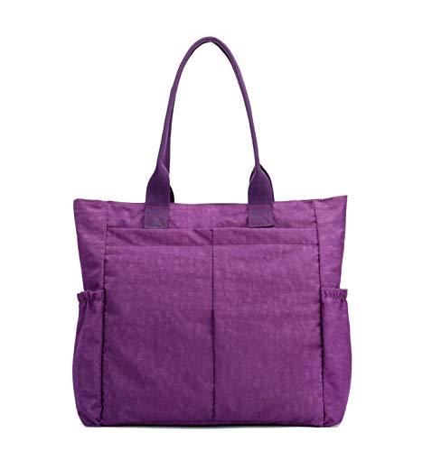 Personalize Zipper Tote Bag - Nylon Water Resistant Multi Pockets