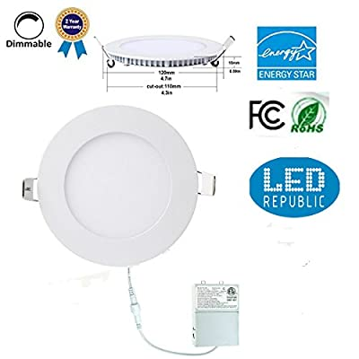Led 9W 4-inch 710 Lumen ENERGY STAR UL-classified Dimmable Slim Ultra Thin Retrofit LED Recessed Lighting Fixture, Daylight White 5000K 80W Halogen Equivalent for New Construction and Remodel