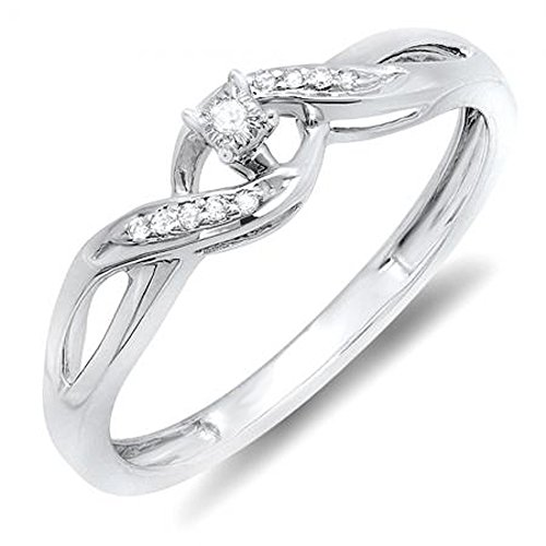 - Dazzlingrock Collection 0.06 Carat (ctw) Sterling Silver Round Diamond Ladies Crossover Swirl Bridal Promise Engagement Ring, Size 6