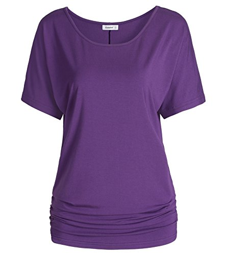 Esenchel Women's Short Sleeve Dolman Top Scoop Neck Drape Shirt 3X Purple - Purple 3x T-shirt