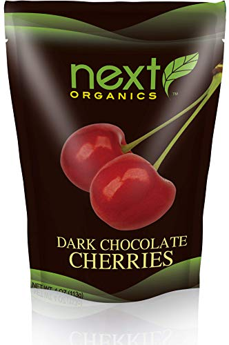 Next Organic Cherries Dark Chocolate Covered, 4-Ounce (Pack of 3) ()