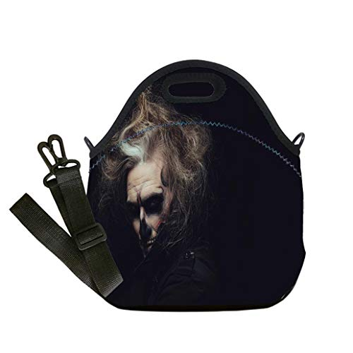 Insulated Lunch Bag, Reusable Outdoor Travel Picnic School Portrait of man with Halloween skull makeup custom Stylish Lunch Bag, Multi-use for Men, Women and -