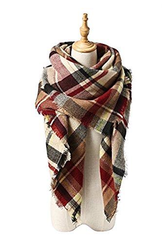 Womens Plaid Blanket Scarf Winter Big Tartan Wrap Shawl